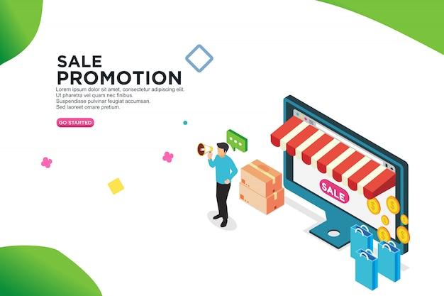 Concept de design isométrique de promotion vente - vecteur Vecteur Premium