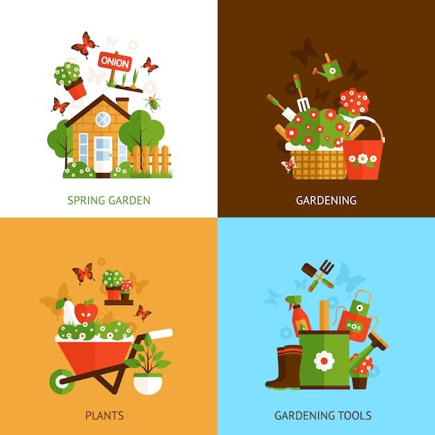 Concept de design de jardinage Vecteur gratuit