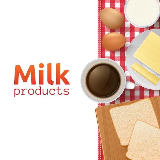 Concept de design de lait et de produits laitiers avec petit-déjeuner sain et équilibré Vecteur gratuit