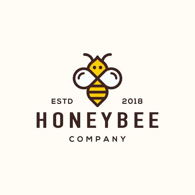 Concept de design de logo d'abeille. Vecteur Premium