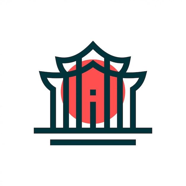 Concept de design de logo de temple. logo du temple universel. Vecteur Premium