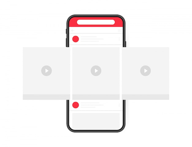 Concept De Design De Médias Sociaux. Lecteur Vidéo Pour Smartphone Avec Carrousel D'interface Sur Réseau Social. Style Plat Moderne Vecteur Premium
