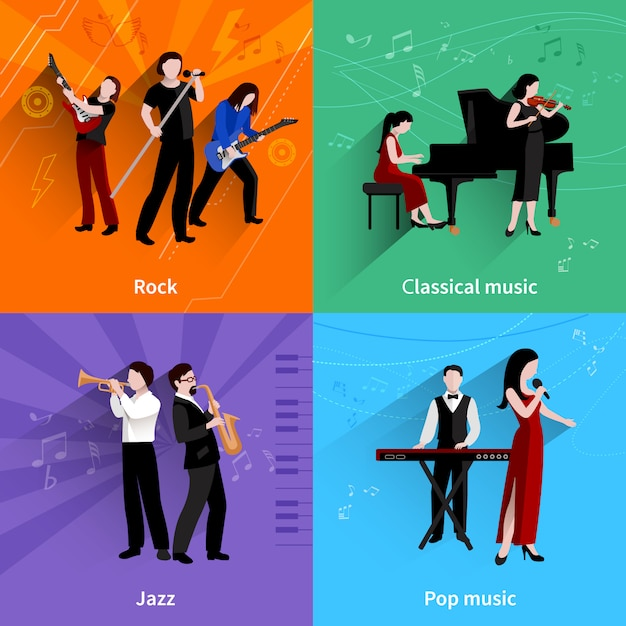 Concept de design de musiciens sertie d'icônes plats de lecteurs de musique classique pop rock jazz Vecteur gratuit
