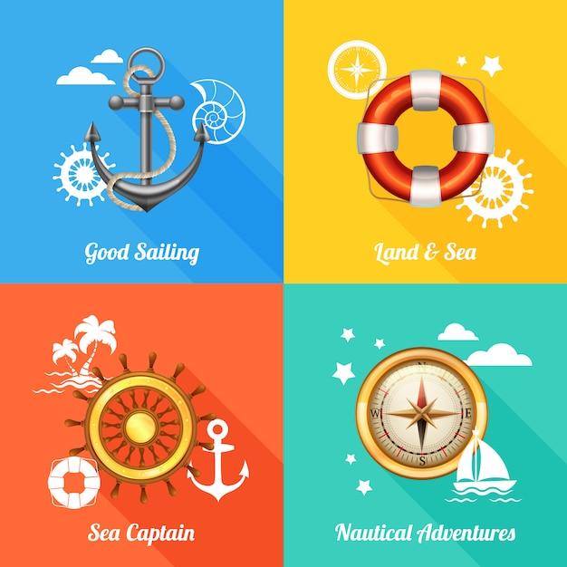 Concept de design nautique 4 icônes plats Vecteur gratuit