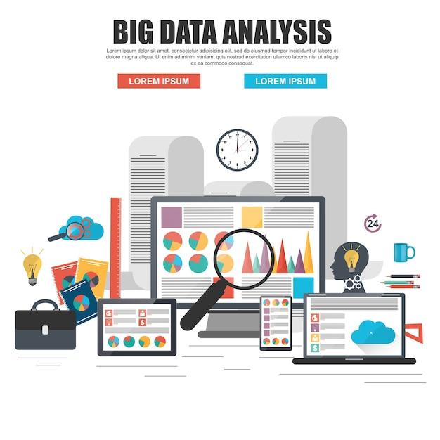 Concept de design plat de l'analyse de big data d'entreprise, analytique globale, recherche financière re Vecteur Premium