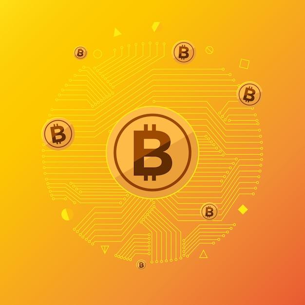 Concept de design plat bitcoin crypto-monnaie Vecteur Premium