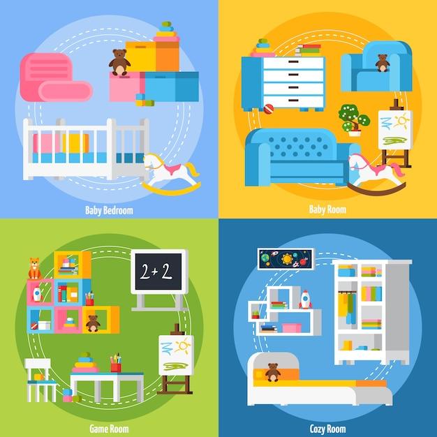 Concept de design plat chambre bébé Vecteur gratuit
