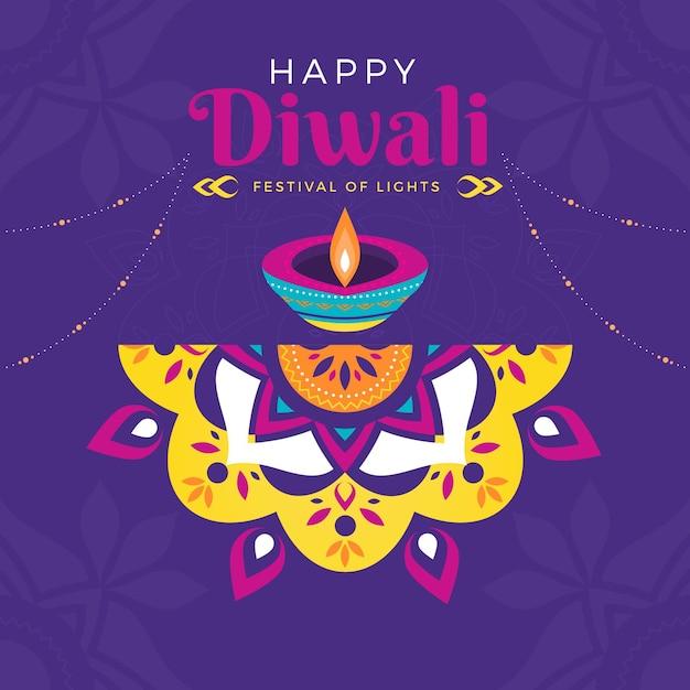 Concept De Design Plat Diwali Vecteur gratuit