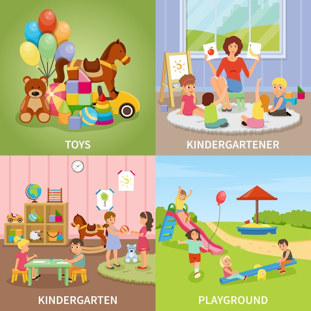 Concept de design plat de jardin d'enfants Vecteur gratuit