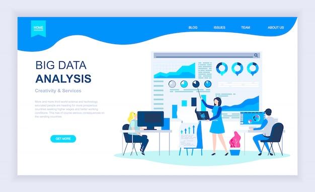 Concept de design plat moderne d'analyse de données volumineuses Vecteur Premium