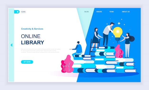 Concept de design plat moderne de la bibliothèque en ligne Vecteur Premium