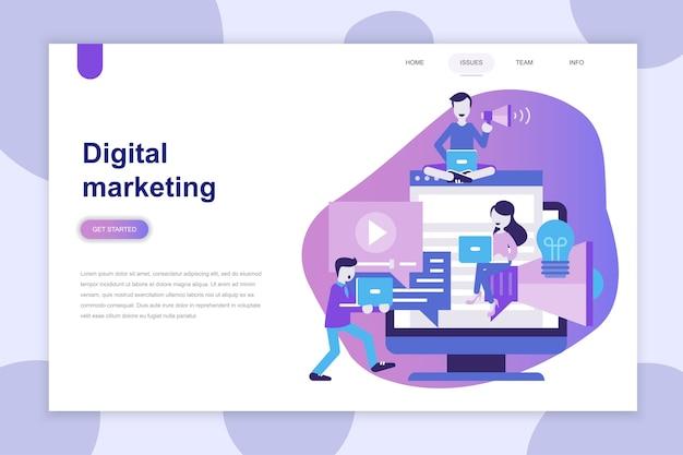 Concept de design plat moderne de digital marketing pour site web Vecteur Premium