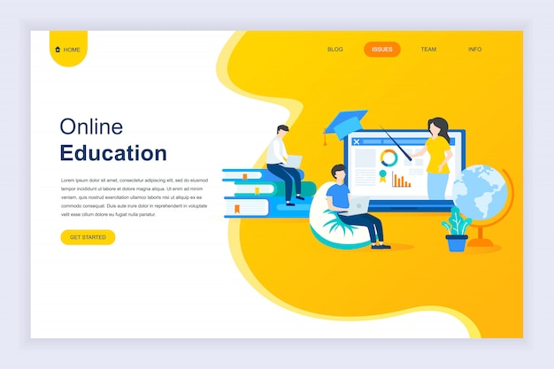 Concept de design plat moderne d'éducation en ligne pour site web Vecteur Premium