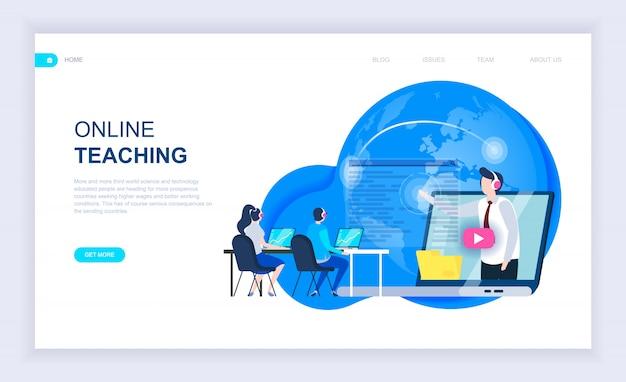 Concept de design plat moderne de l'enseignement en ligne Vecteur Premium
