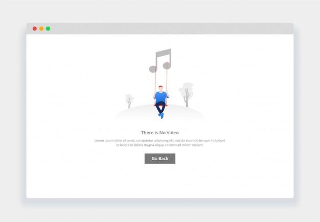 Concept De Design Plat Moderne, Il N'y A Pas De Musique Pour Site Web Et Site Web Mobile. Modèle De Page D'états Vides Vecteur Premium