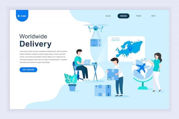 Concept de design plat moderne de livraison dans le monde entier pour site web Vecteur Premium