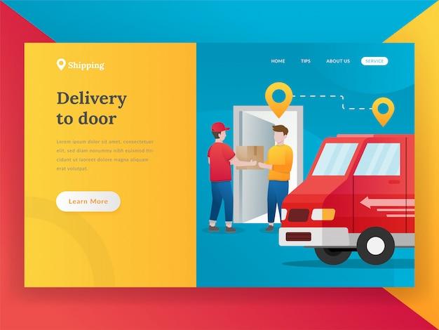 Concept de design plat moderne de livraison en ligne Vecteur Premium