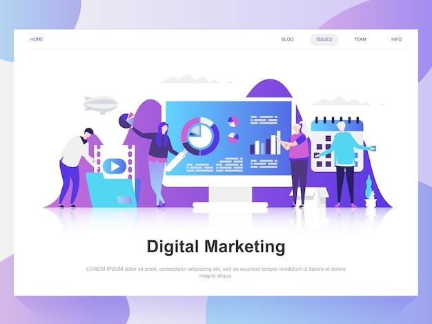 Concept de design plat moderne marketing numérique. Vecteur Premium