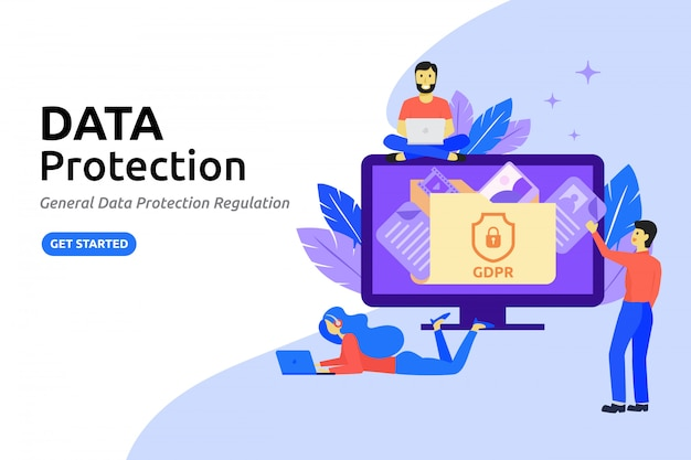 Concept de design plat moderne de protection des données. protéger les données en ligne Vecteur Premium