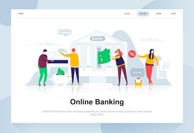 Concept de design plat moderne de services bancaires en ligne. Vecteur Premium