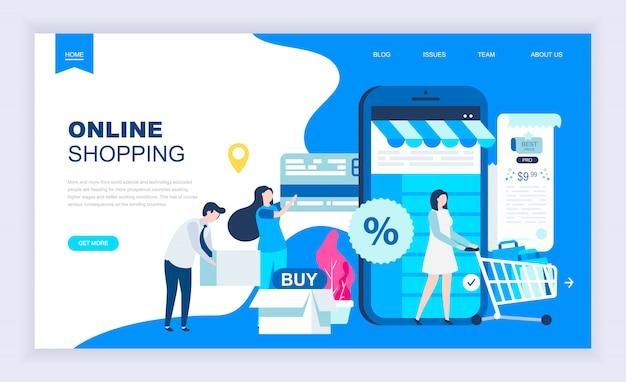 Concept de design plat moderne de shopping en ligne Vecteur Premium