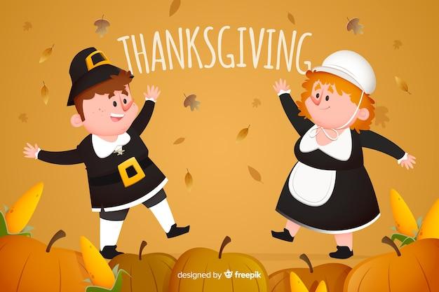 Concept de design plat pour le fond thanksgiving Vecteur gratuit