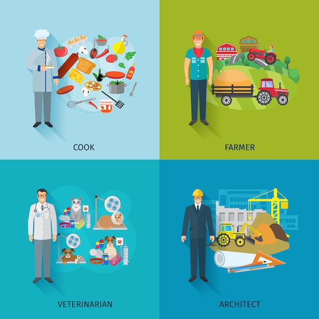 Concept de design de profession défini avec l'ingénieur agriculteur cuisinière Vecteur gratuit