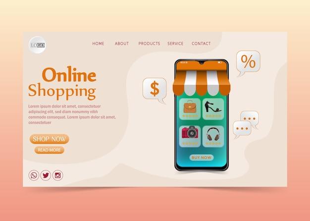 Concept De Design Shopping En Ligne Sur Application Mobile Vecteur Premium