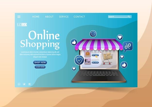 Concept De Design Shopping En Ligne Avec Ordinateur Portable Vecteur Premium