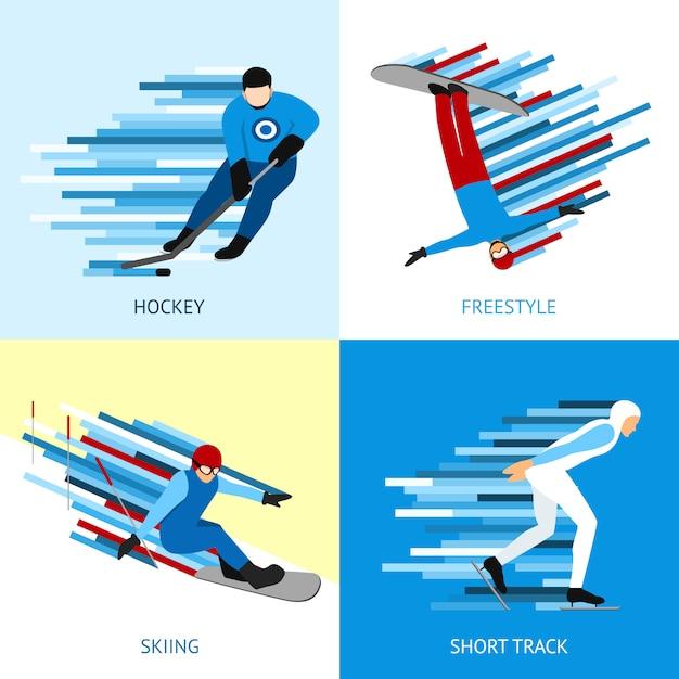 Concept De Design Sportif D'hiver Vecteur gratuit