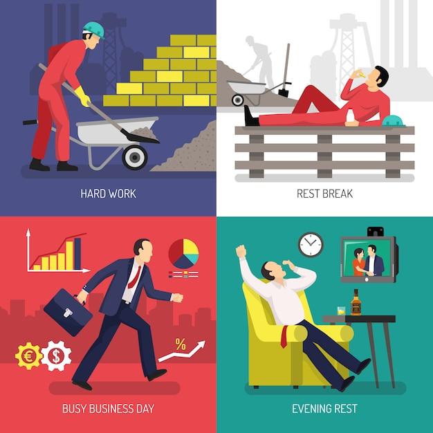 Concept de design de travailleur fatigué Vecteur gratuit