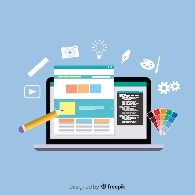 Concept De Design Web Coloré Avec Design Plat Vecteur Premium