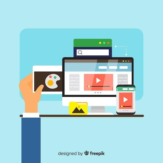 Concept De Design Web Coloré Avec Design Plat Vecteur gratuit