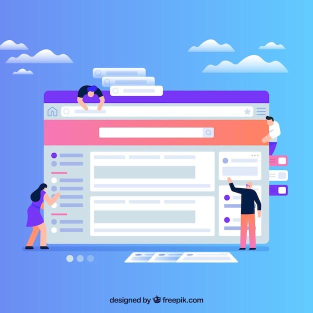 Concept De Design Web Avec Un Design Plat Vecteur gratuit