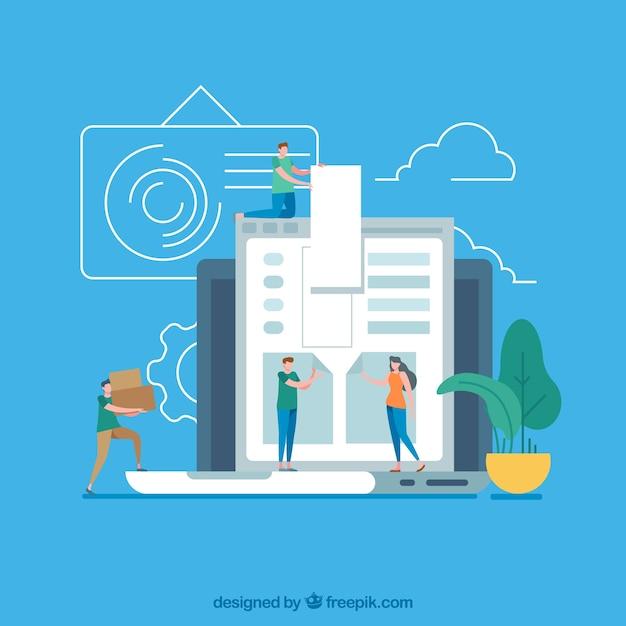 Concept de design web moderne avec un design plat Vecteur gratuit