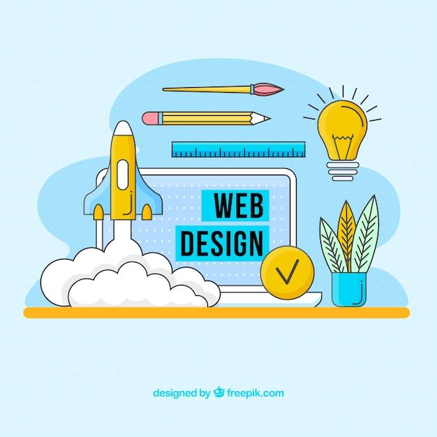 Concept de design web moderne avec style dessiné à la main Vecteur gratuit