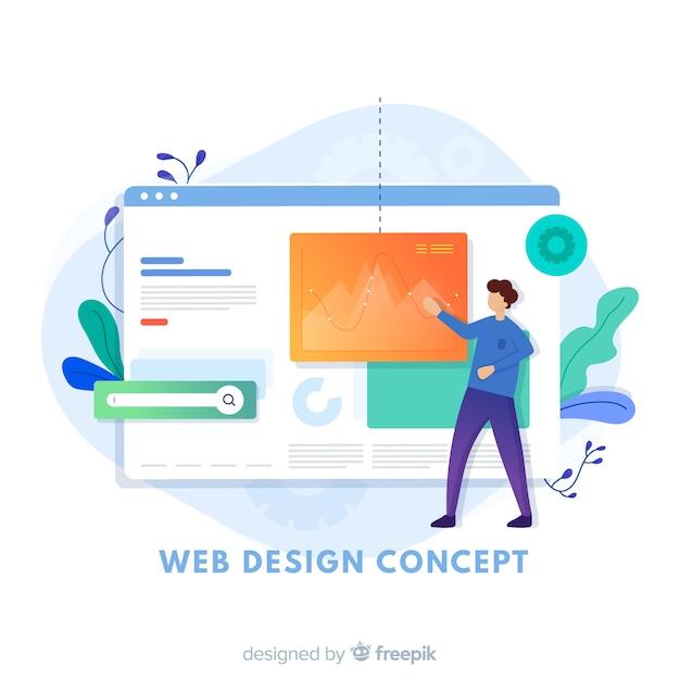 Concept De Design Web Moderne Avec Style Plat Vecteur Premium
