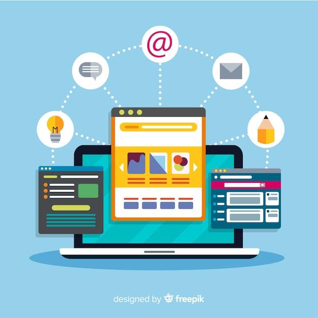 Concept De Design Web Moderne Avec Style Plat Vecteur gratuit