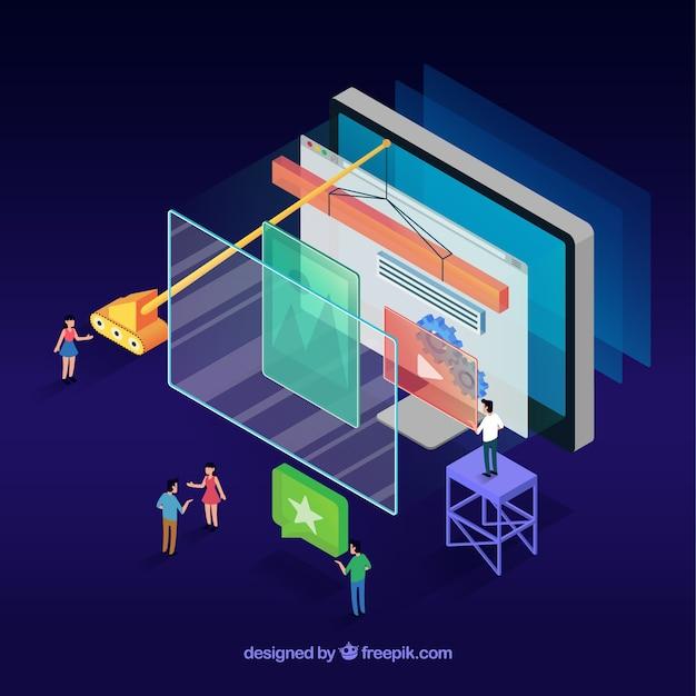 Concept De Design Web Moderne Avec Vue Isométrique Vecteur gratuit