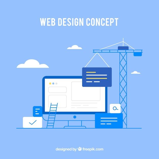 Concept de design web avec style plat Vecteur gratuit