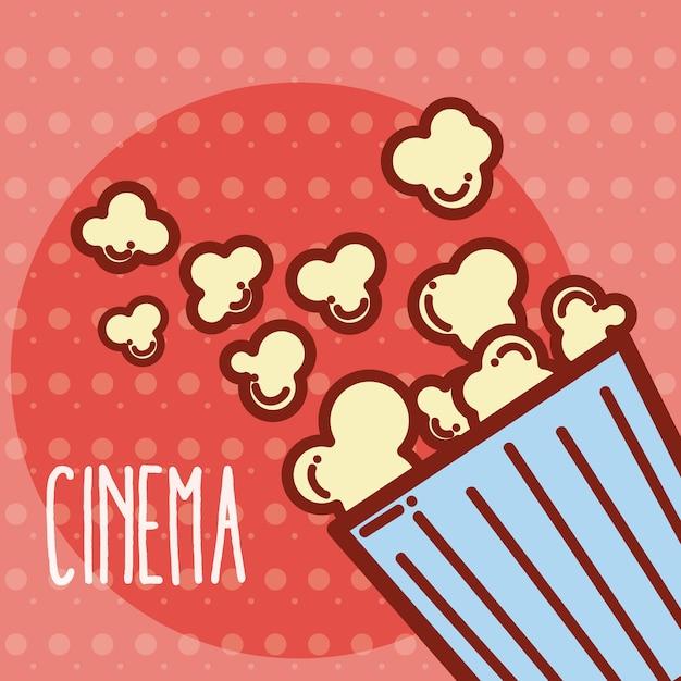 Concept De Dessin Animé Mignon Pop Corn Box Cinéma Vecteur Premium