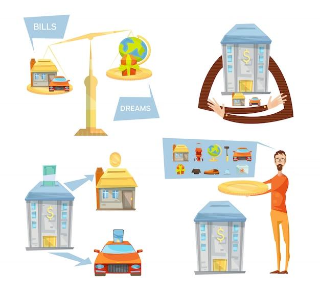 Concept de dette avec des images conceptuelles isolées des balances bancaires icônes maison maison pensé et mâle Vecteur gratuit