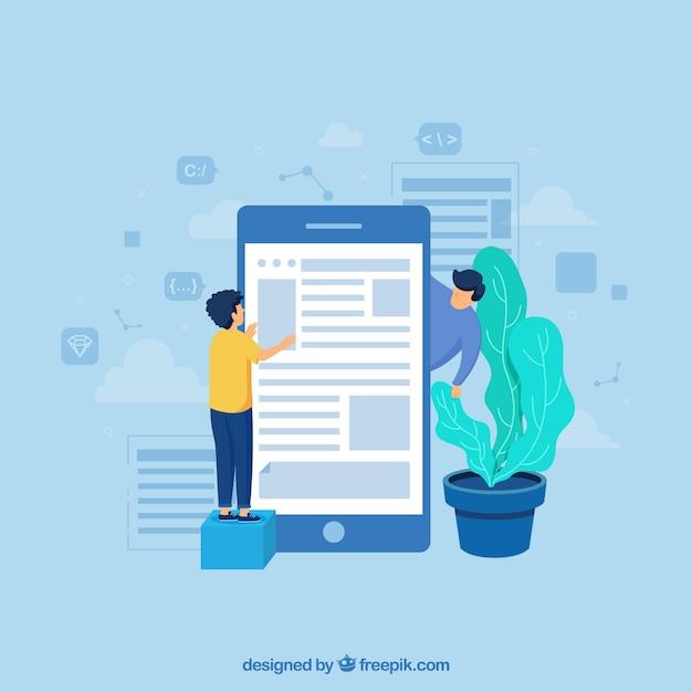 Concept de développement app avec un design plat Vecteur gratuit