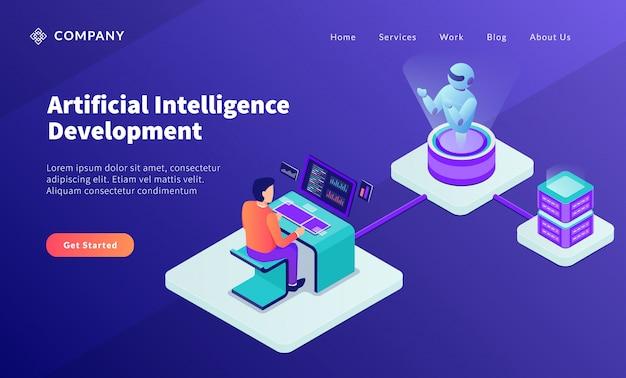 Concept De Développement De L'intelligence Artificielle Ia Avec Programmeur Développer Un Robot Vecteur Premium