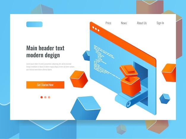Concept de développement de site web, optimisation des moteurs de recherche, programmation de plug-ins de module complémentaire Vecteur gratuit