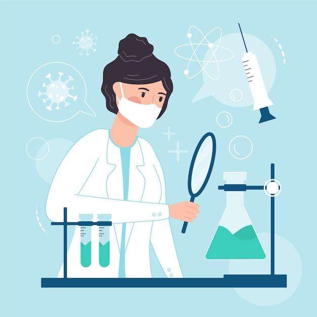 Concept De Développement De Vaccins Avec Un Chercheur Vecteur gratuit