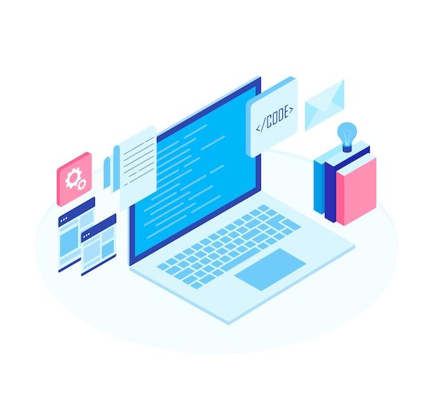 Concept De Développement Web, Programmation Et Codage. Vecteur Premium