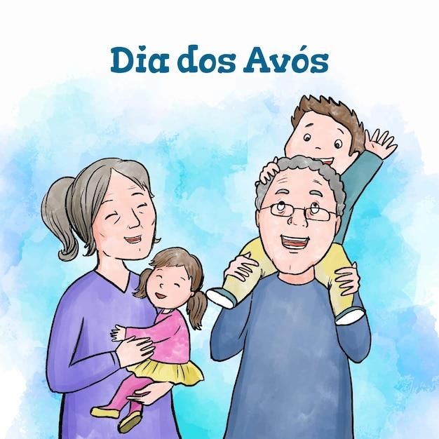 Concept De Dia Dos Avós Dessiné à La Main Vecteur gratuit