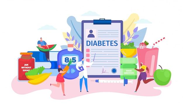Concept De Diabète, Personnage De Médecin De Dessin Animé Conseillant De Minuscules Patients Dans Un Mode De Vie Sain Sur Blanc Vecteur Premium