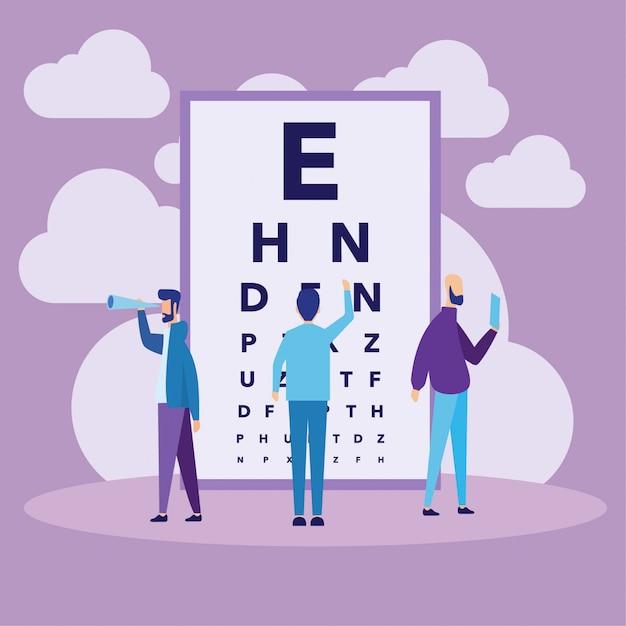 Concept de diagramme de test oculaire Vecteur Premium